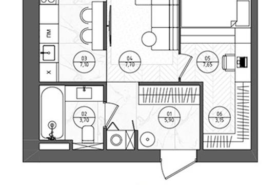 2-комн квартира, 36.8 м2, 5 этаж