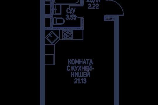 Студия, 26.9 м<sup>2</sup>, 2 этаж_1