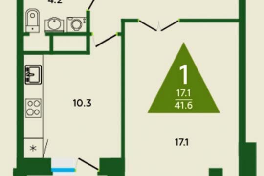 1-комн квартира, 40.9 м2, 2 этаж