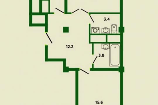 2-комн квартира, 66.8 м2, 12 этаж