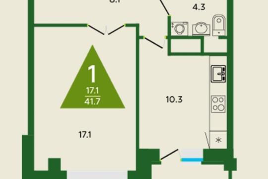 1-комн квартира, 41.7 м2, 8 этаж