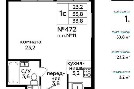 Студия, 33.8 м<sup>2</sup>, 20 этаж_1