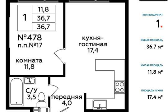 1-комн квартира, 36.7 м<sup>2</sup>, 20 этаж_1