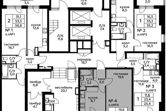 1-комн квартира, 36.1 м<sup>2</sup>, 1 этаж_1