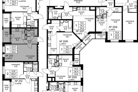 1-комн квартира, 36.6 м<sup>2</sup>, 2 этаж_1