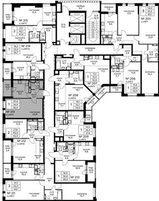 1-комн квартира, 36.6 м2, 2 этаж - фото 1