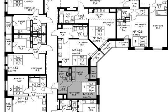 Студия, 26.4 м2, 22 этаж