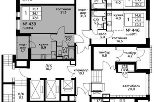 1-комн квартира, 37.8 м<sup>2</sup>, 1 этаж_1