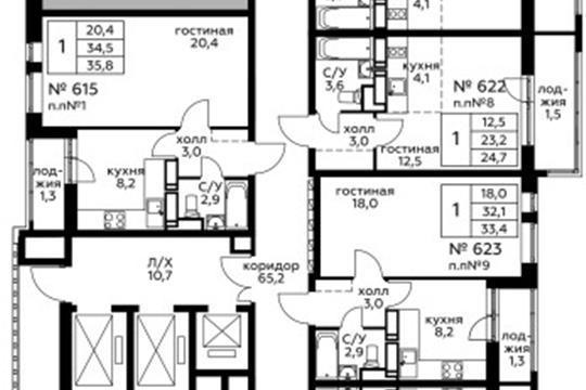 1-комн квартира, 35.8 м<sup>2</sup>, 14 этаж_1