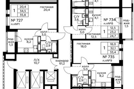 1-комн квартира, 35.8 м<sup>2</sup>, 22 этаж_1
