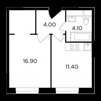 1-комн квартира, 36.3 м2, 18 этаж - фото 1