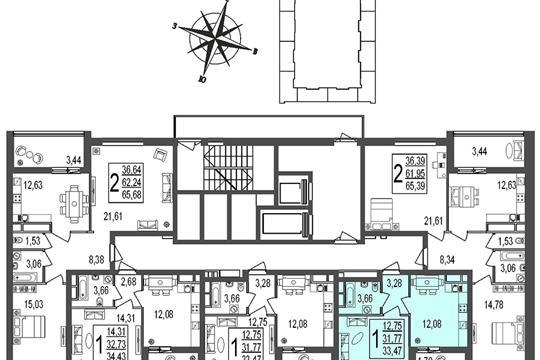 1-комн квартира, 33.5 м2, 20 этаж