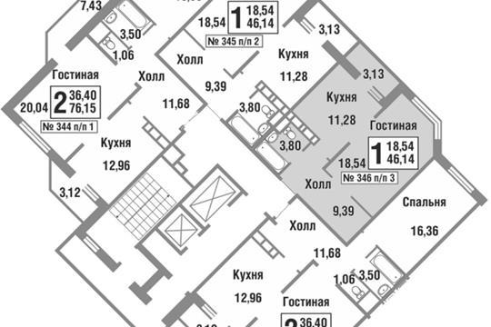 1-комн квартира, 45.7 м2, 11 этаж