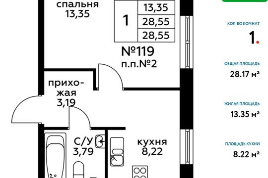 1-комн квартира, 28.55 м2, 1 этаж