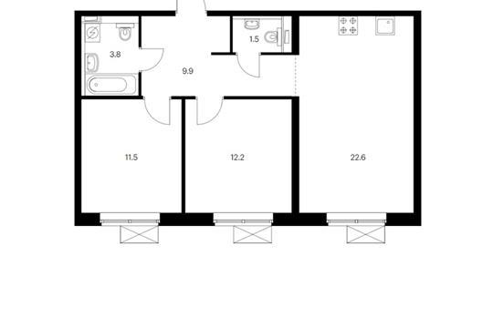 2-комн квартира, 61.9 м<sup>2</sup>, 17 этаж_1