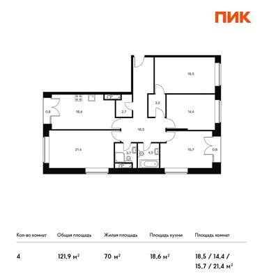 4-комн квартира, 121.9 м2, 20 этаж - фото 1