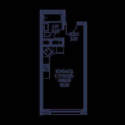 Студия, 24.9 м2, 8 этаж - фото 1