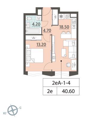 1-комн квартира, 40.6 м2, 4 этаж - фото 1