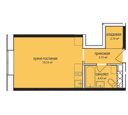 Студия, 29 м2, 1 этаж - фото 1