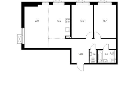 3-комн квартира, 82.3 м<sup>2</sup>, 28 этаж_1