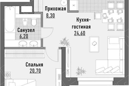 2-комн квартира, 60 м2,  этаж
