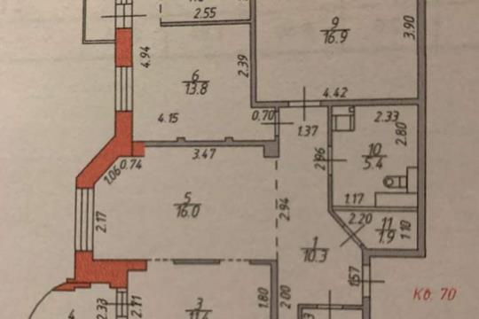 3-комн квартира, 90 м2, 12 этаж