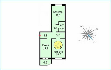 2-комн квартира, 71.3 м2, 5 этаж