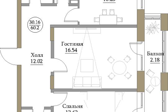 2-комн квартира, 62.34 м2, 18 этаж