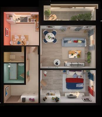 2-комн квартира, 58 м2, 12 этаж - фото 1