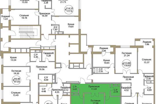 2-комн квартира, 66.01 м<sup>2</sup>, 2 этаж_1