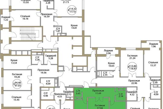 2-комн квартира, 66.01 м2, 2 этаж