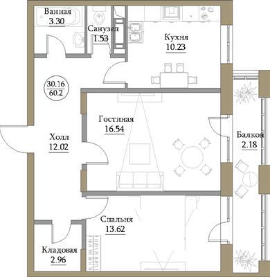 2-комн квартира, 62.34 м2, 16 этаж - фото 1