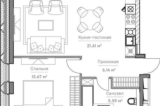 2-комн квартира, 50.44 м<sup>2</sup>, 3 этаж_1