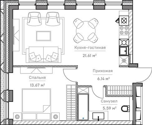 2-комн квартира, 50.44 м2, 3 этаж - фото 1