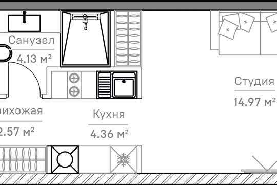 1-комн квартира, 27.37 м2, 5 этаж
