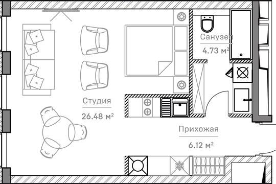 1-комн квартира, 37.7 м2, 6 этаж