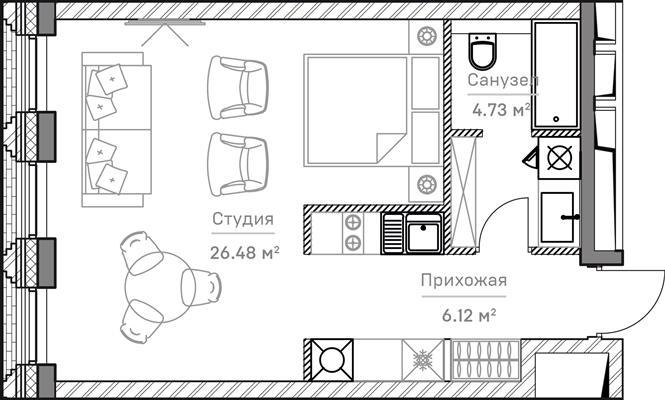 1-комн квартира, 37.7 м2, 6 этаж - фото 1