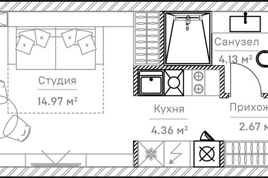 1-комн квартира, 26.66 м2, 6 этаж
