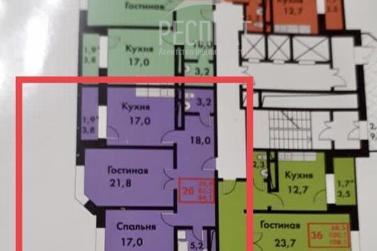 2-комн квартира, 82.4 м2, 6 этаж