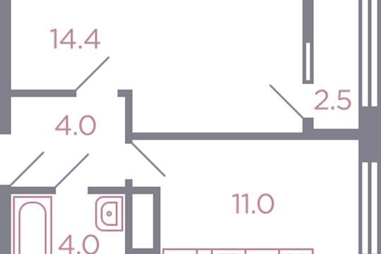 1-комн квартира, 34.7 м2, 5 этаж