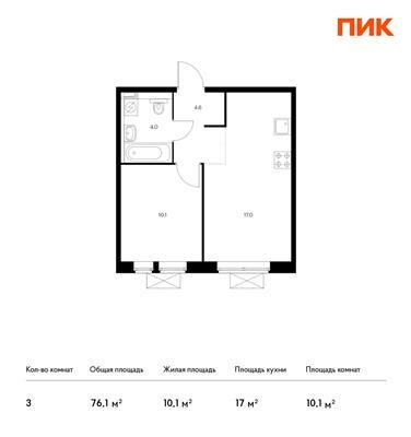 3-комн квартира, 76.1 м2, 6 этаж - фото 1