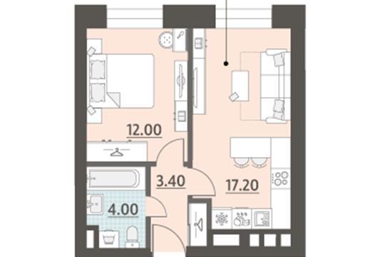1-комн квартира, 36.6 м2, 6 этаж