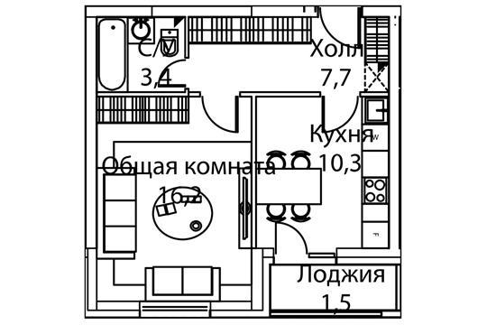 1-комн квартира, 38 м2, 17 этаж