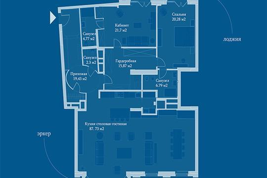 3-комн квартира, 182.2 м2, 5 этаж