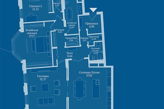 3-комн квартира, 169.8 м2, 6 этаж