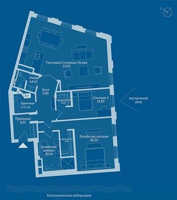 2-комн квартира, 137.7 м2, 6 этаж - фото 1
