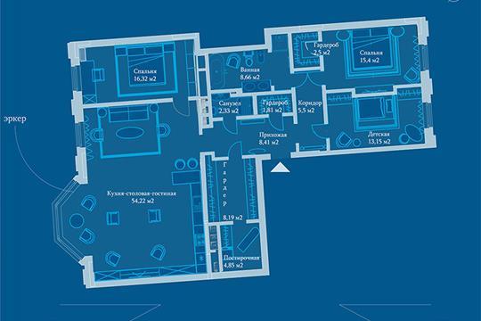 2-комн квартира, 137.7 м2, 7 этаж