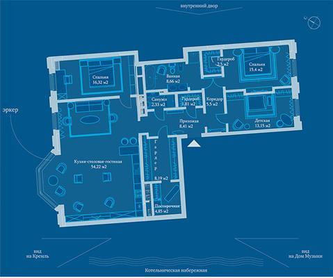 2-комн квартира, 137.7 м2, 7 этаж - фото 1
