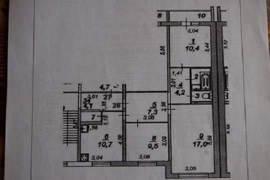 3-комн квартира, 64.5 м2, 1 этаж