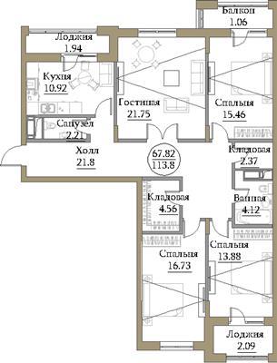 4-комн квартира, 118.87 м2, 3 этаж - фото 1